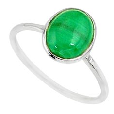 2.94cts natural malachite (pilot's stone) silver solitaire ring size 8 r81677