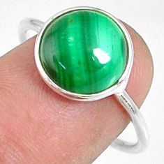 5.46cts natural malachite (pilot's stone) silver solitaire ring size 8 r81760