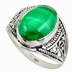 6.72cts natural malachite (pilot's stone) silver solitaire ring size 9 r35462