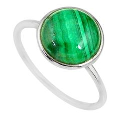 5.82cts natural malachite (pilot's stone) silver solitaire ring size 9 r81672