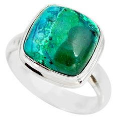 7.54cts natural malachite in chrysocolla 925 silver solitaire ring size 7 r34593