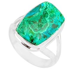 8.55cts natural malachite in chrysocolla 925 silver solitaire ring size 7 r83554
