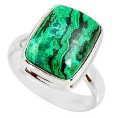 9.42cts natural malachite in chrysocolla 925 silver solitaire ring size 8 r34594