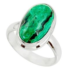 7.40cts natural malachite in chrysocolla silver solitaire ring size 7.5 r34561