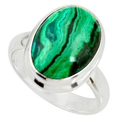 6.58cts natural malachite in chrysocolla silver solitaire ring size 7.5 r34562
