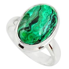 6.58cts natural malachite in chrysocolla silver solitaire ring size 6.5 r34570