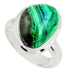 7.40cts natural malachite in chrysocolla silver solitaire ring size 6.5 r34576