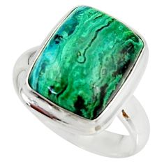 9.38cts natural malachite in chrysocolla silver solitaire ring size 7.5 r34577