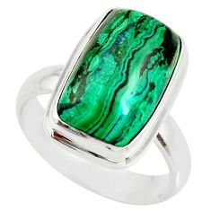 7.24cts natural malachite in chrysocolla silver solitaire ring size 7.5 r34581