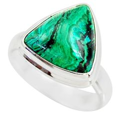 6.84cts natural malachite in chrysocolla silver solitaire ring size 6.5 r34586