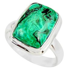7.62cts natural malachite in chrysocolla silver solitaire ring size 7.5 r34590