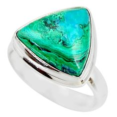 9.47cts natural malachite in chrysocolla silver solitaire ring size 7.5 r34591