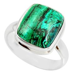 7.40cts natural malachite in chrysocolla silver solitaire ring size 7.5 r34597