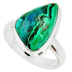 9.57cts natural malachite in chrysocolla silver solitaire ring size 8.5 r34598
