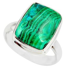 9.89cts natural malachite in chrysocolla silver solitaire ring size 7.5 r34599