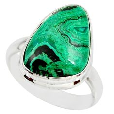 11.27cts natural malachite in chrysocolla silver solitaire ring size 8.5 r34600