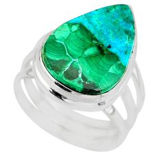 13.77cts natural malachite in chrysocolla silver solitaire ring size 7.5 r83532