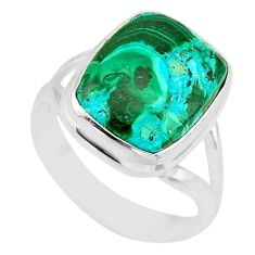 6.02cts natural malachite in chrysocolla silver solitaire ring size 7.5 r83535