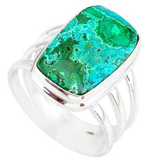 9.63cts natural malachite in chrysocolla silver solitaire ring size 8.5 r83545