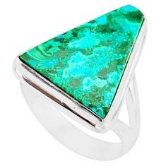 12.60cts natural malachite in chrysocolla silver solitaire ring size 7.5 r83557