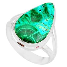 11.23cts natural malachite in chrysocolla silver solitaire ring size 7.5 r83560