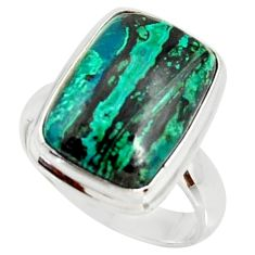 8.54cts natural malachite in chrysocolla silver solitaire ring size 7 r34563