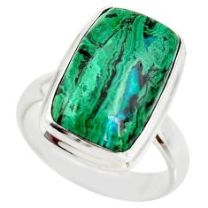 7.66cts natural malachite in chrysocolla silver solitaire ring size 7 r34582