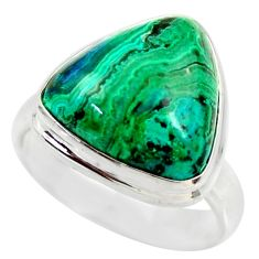 10.64cts natural malachite in chrysocolla silver solitaire ring size 7 r34583