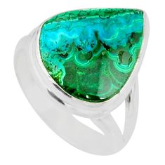 10.31cts natural malachite in chrysocolla silver solitaire ring size 7 r83525