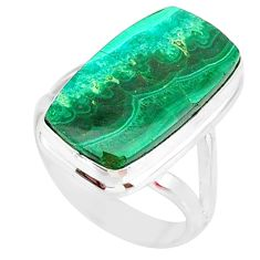10.84cts natural malachite in chrysocolla silver solitaire ring size 7 r83570