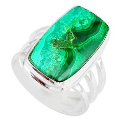 13.09cts natural malachite in chrysocolla silver solitaire ring size 7 r83577