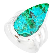 11.19cts natural malachite in chrysocolla silver solitaire ring size 7 r83578