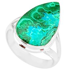 10.05cts natural malachite in chrysocolla silver solitaire ring size 7 r83579