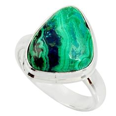 10.24cts natural malachite in chrysocolla silver solitaire ring size 8 r34565