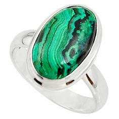 7.12cts natural malachite in chrysocolla silver solitaire ring size 8 r34574