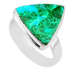 9.30cts natural malachite in chrysocolla silver solitaire ring size 8 r83531