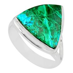 8.94cts natural malachite in chrysocolla silver solitaire ring size 8 r83536