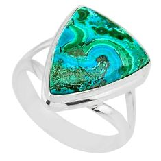 8.94cts natural malachite in chrysocolla silver solitaire ring size 8 r83537
