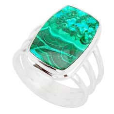12.83cts natural malachite in chrysocolla silver solitaire ring size 8 r83546