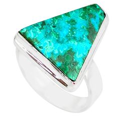 10.81cts natural malachite in chrysocolla silver solitaire ring size 8 r83551