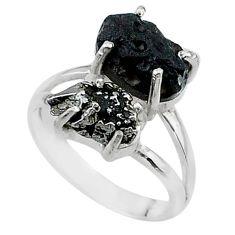 9.18cts natural meteorite tektite campo del cielo 925 silver ring size 7 t14197