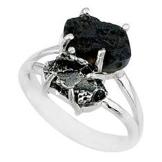 9.29cts natural meteorite tektite campo del cielo 925 silver ring size 8 t14191