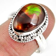 6.32cts natural mexican fire agate 925 silver solitaire ring size 8.5 r19287