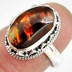 5.75cts natural mexican fire agate 925 silver solitaire ring size 6.5 r19297