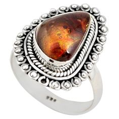 6.83cts natural mexican fire agate 925 silver solitaire ring size 8.5 r21431