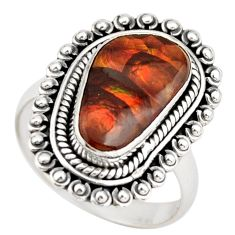6.53cts natural mexican fire agate 925 silver solitaire ring size 8.5 r21433