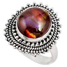 6.83cts natural mexican fire agate 925 silver solitaire ring size 7.5 r21438