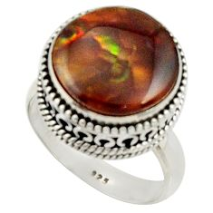 8.98cts natural mexican fire agate 925 silver solitaire ring size 7.5 r22022