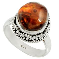 6.33cts natural mexican fire agate 925 silver solitaire ring size 7.5 r22026