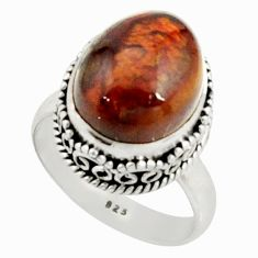 6.79cts natural mexican fire agate 925 silver solitaire ring size 7.5 r22030